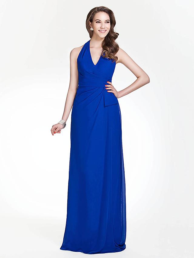 Sheath / Column Halter Neck / V Neck Floor Length Chiffon Bridesmaid Dress with Side Draping / Open Back