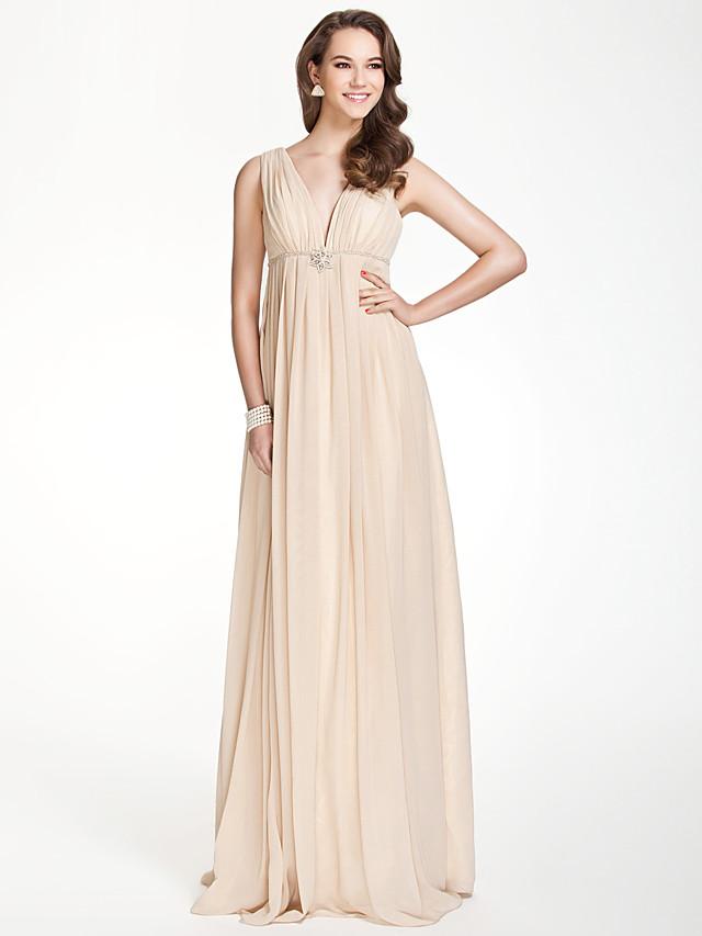 A-Line V Neck Floor Length Chiffon Bridesmaid Dress with Pleats / Beading / Draping