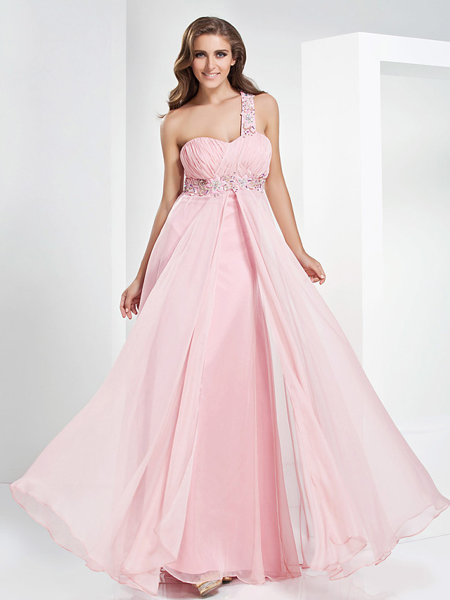 Ball Gown Elegant Open Back Prom Formal Evening Military Ball Dress One Shoulder Sweetheart Neckline Sleeveless Floor Length Chiffon with Crystals Beading Draping 2020