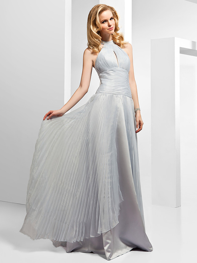 Ball Gown Beautiful Back Formal Evening Dress High Neck Sleeveless Floor Length Organza with Pleats Beading Split Front 2021