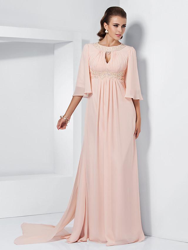 A-Line Elegant Keyhole Formal Evening Black Tie Gala Dress Jewel Neck Half Sleeve Sweep / Brush Train Chiffon with Beading Draping 2020