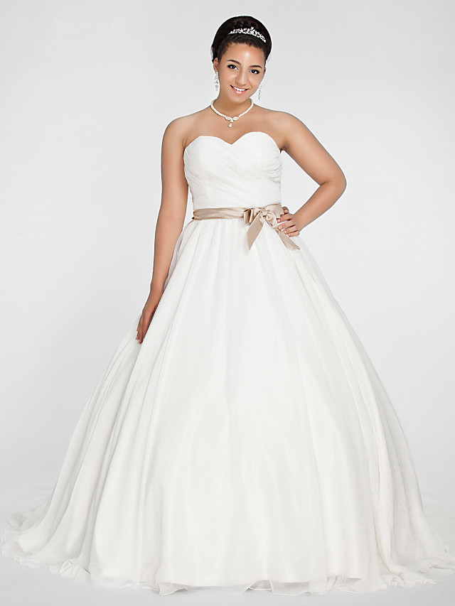 Ball Gown Wedding Dresses Sweetheart Neckline Court Train Chiffon Strapless Simple Vintage Plus Size Backless Cute With Bowknot Sash Ribbon Ruched 2020 247257 2020 170 99,Plus Size Wedding Dresses