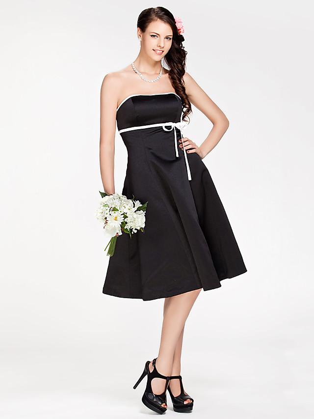 Princess / A-Line Strapless Knee Length Satin Bridesmaid Dress with Sash / Ribbon