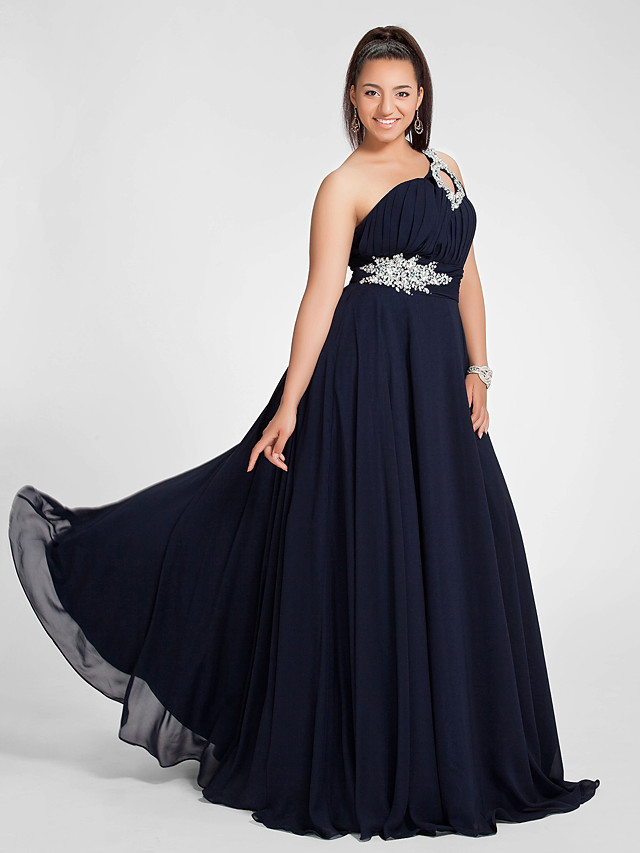 A-Line Elegant Cut Out Open Back Prom Formal Evening Dress One Shoulder Sleeveless Sweep / Brush Train Chiffon with Ruched Beading 2020