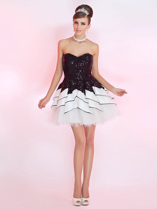 Back To School Ball Gown Sparkle & Shine Homecoming Cocktail Party Prom Dress Strapless Sweetheart Neckline Sleeveless Short / Mini Sequined with Sequin Ruffles 2020 Hoco Dress