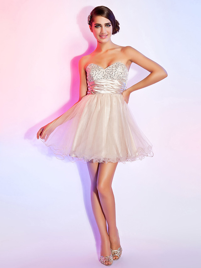 Back To School A-Line Open Back Homecoming Cocktail Party Prom Dress Strapless Sweetheart Neckline Sleeveless Short / Mini Organza with Sash / Ribbon Ruched Sequin 2020 Hoco Dress