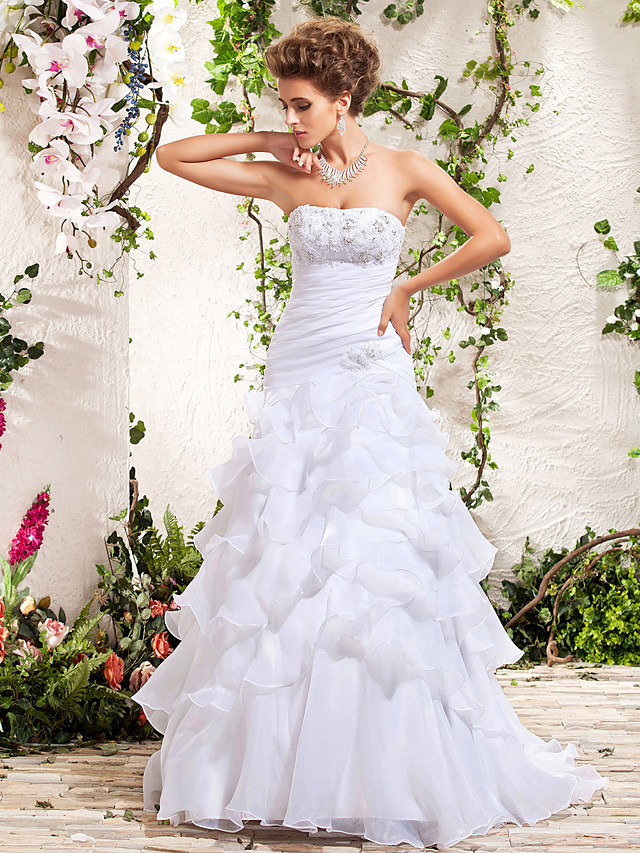 A-Line Wedding Dresses Strapless Floor Length Organza Sleeveless with 2020