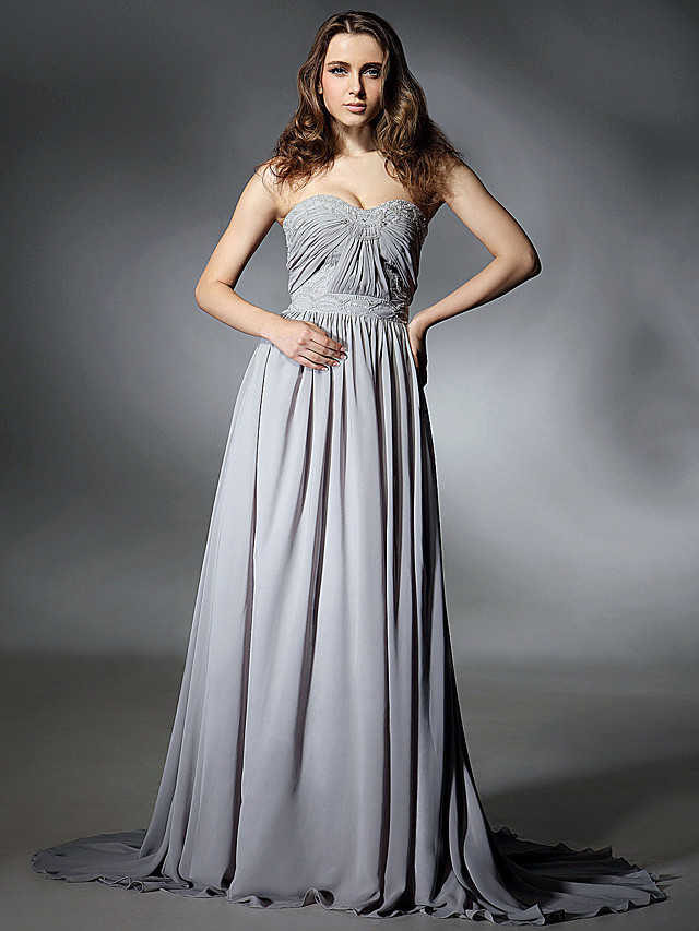 A-Line Elegant Celebrity Style All Celebrity Styles Prom Formal Evening Dress Strapless Sweetheart Neckline Sleeveless Sweep / Brush Train Chiffon with Pleats Beading Draping 2020