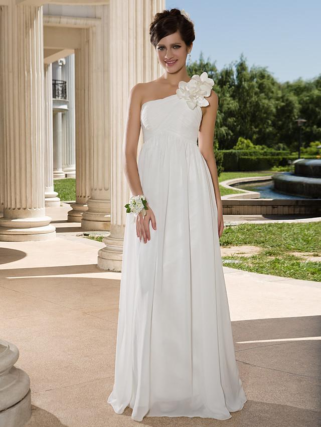 Sheath / Column Wedding Dresses One Shoulder Floor Length Chiffon Sleeveless See-Through with Flower Criss-Cross Side-Draped 2020