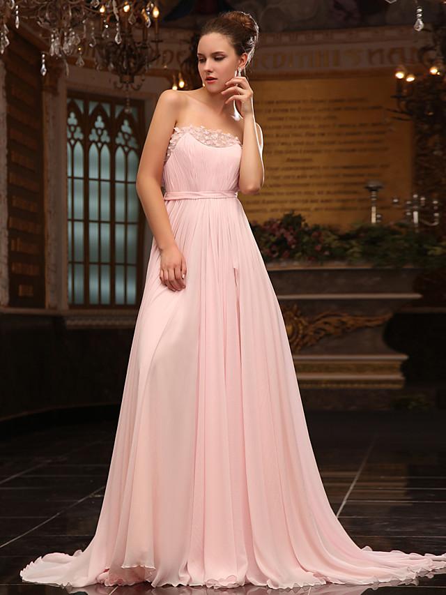 Ball Gown Elegant Formal Evening Military Ball Dress Strapless Sleeveless Sweep / Brush Train Chiffon Satin Chiffon with Sash / Ribbon Beading Sequin 2020