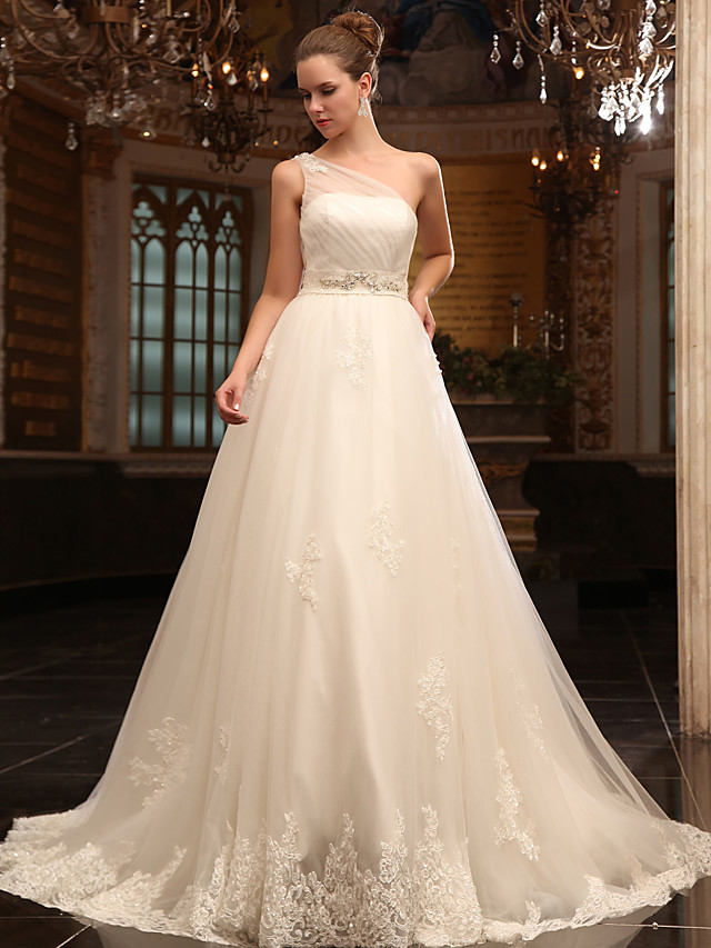 Princess A-Line Wedding Dresses One Shoulder Court Train Satin Tulle Sleeveless with 2020