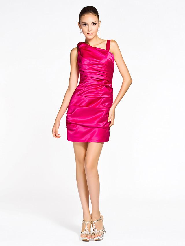 Sheath / Column Straps Short / Mini Satin Bridesmaid Dress with Side Draping