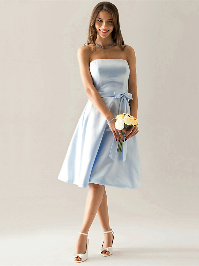 A-Line Strapless Knee Length Satin Bridesmaid Dress with Sash / Ribbon / Bow(s)