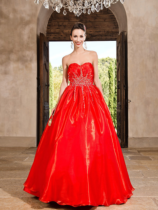Ball Gown Vintage Inspired Quinceanera Prom Formal Evening Dress Strapless Sweetheart Neckline Sleeveless Floor Length Organza with Crystals Beading Draping 2020