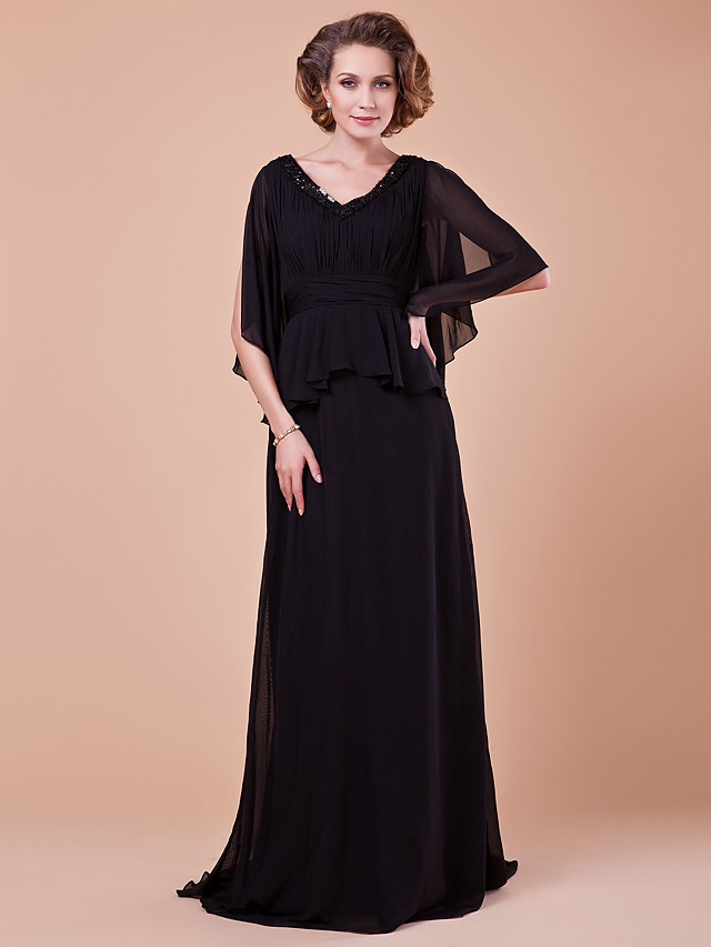 A-Line Mother of the Bride Dress Vintage Inspired V Neck Sweep / Brush Train Chiffon Half Sleeve with Sash / Ribbon Ruched Sequin 2020