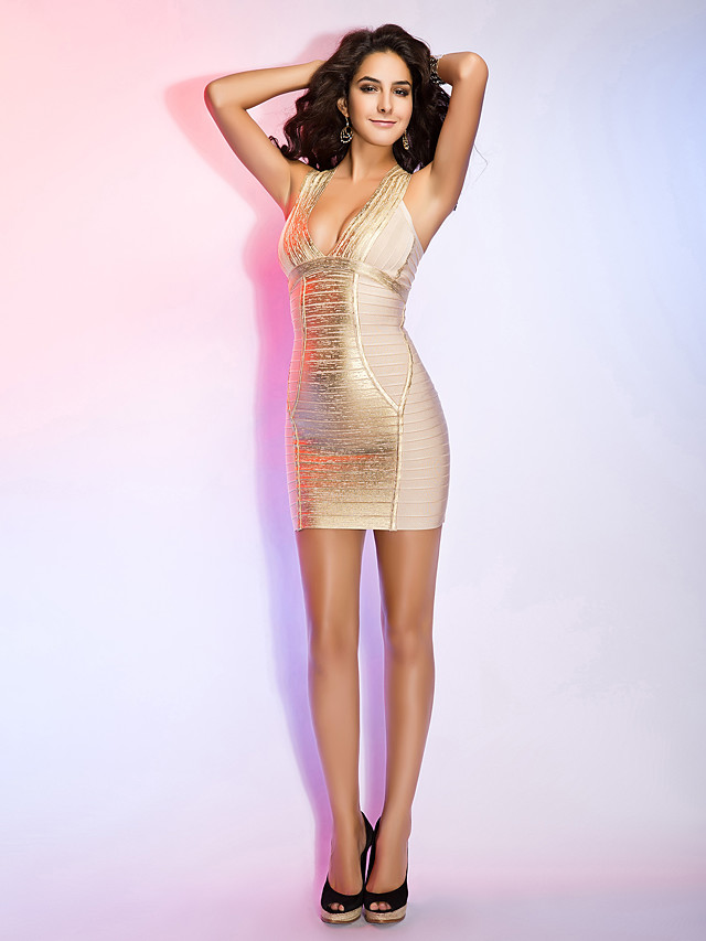 Sheath / Column Homecoming Cocktail Party Dress Halter Neck Sleeveless Short / Mini Rayon with Bandage 2020