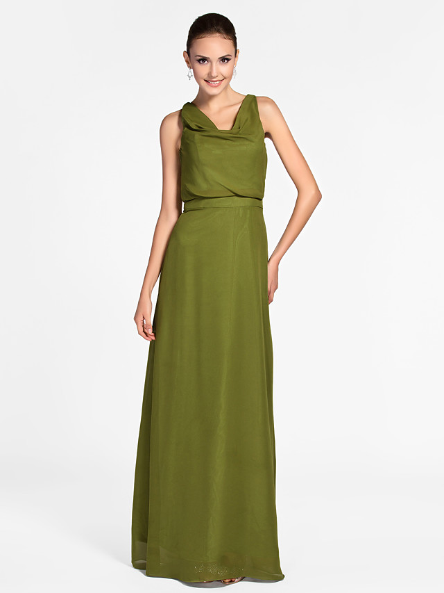 Sheath / Column Cowl Neck Floor Length Chiffon Bridesmaid Dress with Side Draping