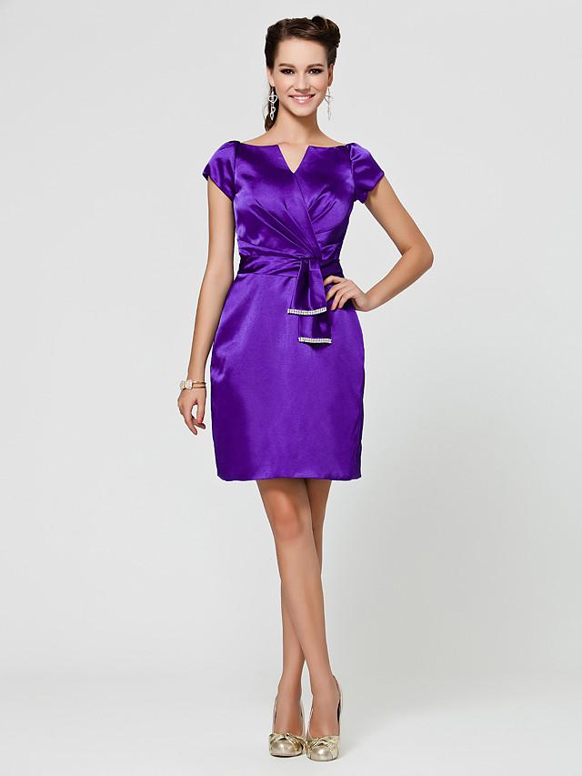 Sheath / Column V Neck / Notched Knee Length Stretch Satin Bridesmaid Dress with Sash / Ribbon / Criss Cross / Beading