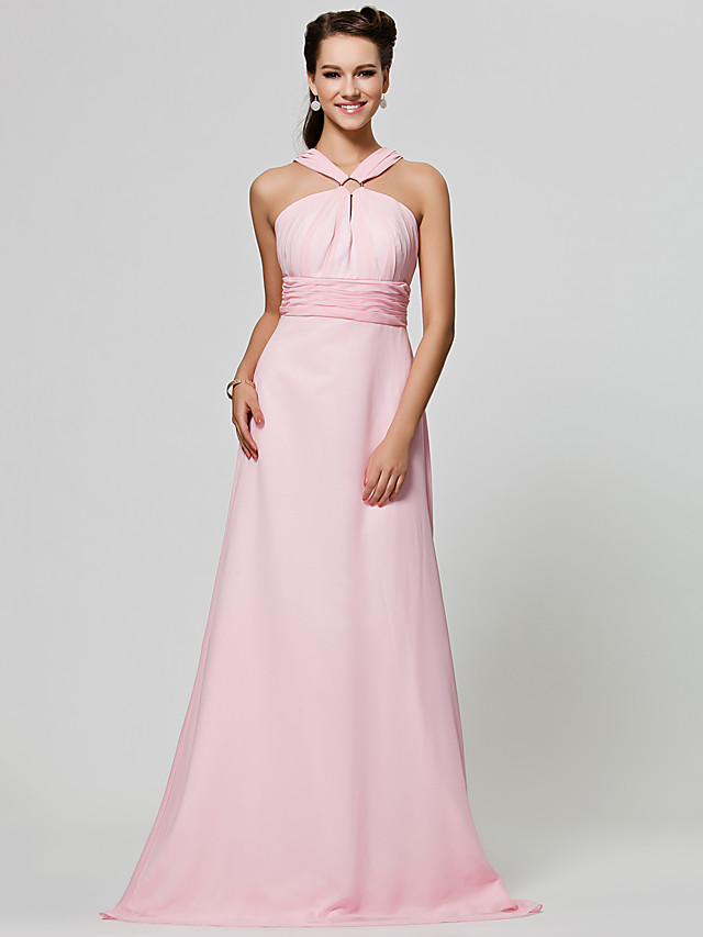 Princess / A-Line Straps Floor Length Chiffon Bridesmaid Dress with Ruched / Draping