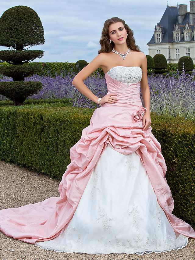 Ball Gown Vintage Inspired Quinceanera Prom Formal Evening Dress Strapless Sleeveless Court Train Organza Taffeta with Pick Up Skirt Criss Cross Beading 2020 / Embroidery