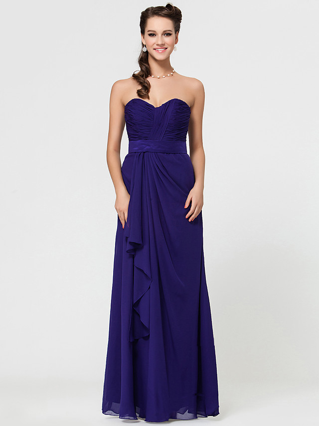 Sheath / Column Strapless / Sweetheart Neckline / Spaghetti Strap Floor Length Chiffon Bridesmaid Dress with Criss Cross / Open Back