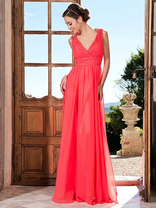 Sheath / Column Elegant Prom Formal Evening Military Ball Dress V Neck Floor Length Chiffon with Criss Cross Ruched Beading 2020