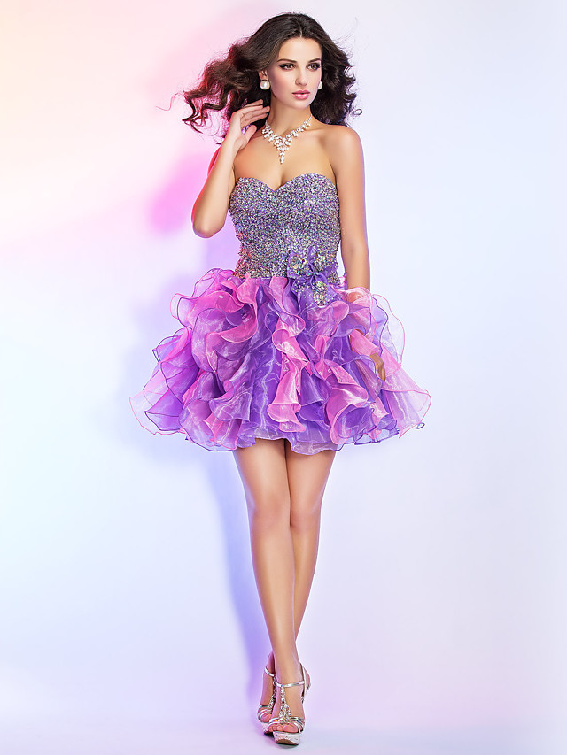 Ball Gown Sparkle & Shine Open Back Homecoming Cocktail Party Prom Dress Strapless Sweetheart Neckline Sleeveless Short / Mini Organza with Bow(s) Beading Sequin 2020