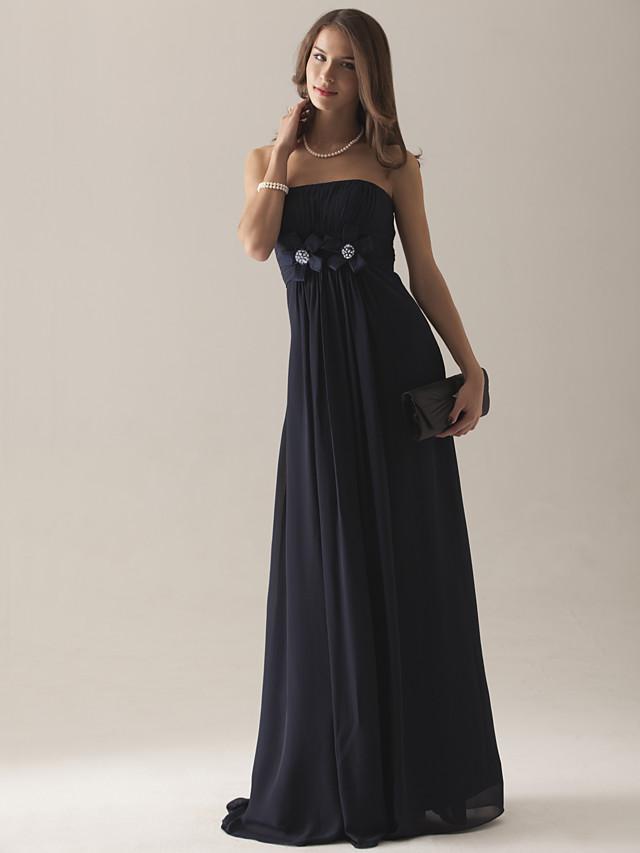 Empire Strapless Floor-length Chiffon Over Satin Bridesmaid Dress