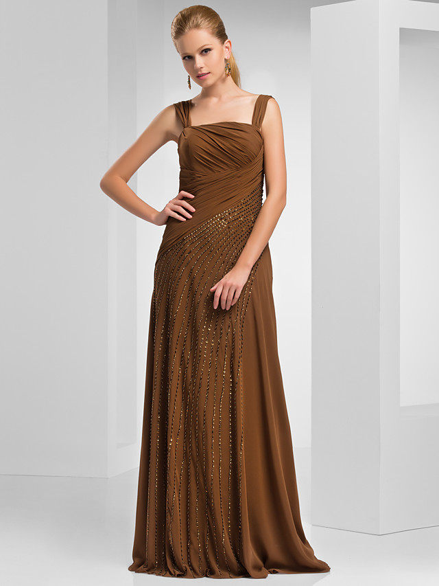 Sheath / Column Mother of the Bride Dress Off Shoulder Floor Length Chiffon Short Sleeve with Ruched Beading Side Draping 2020