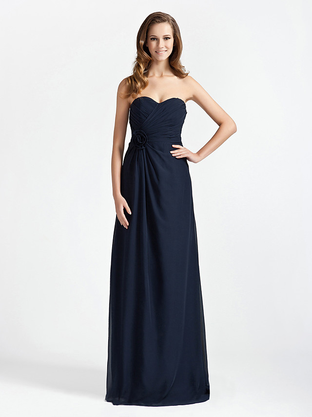 Sheath / Column Strapless / Sweetheart Neckline Floor Length Chiffon Bridesmaid Dress with Criss Cross / Flower