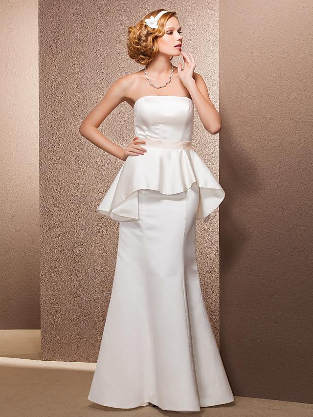 Mermaid / Trumpet Wedding Dresses Strapless Floor Length Satin Sleeveless with 2020