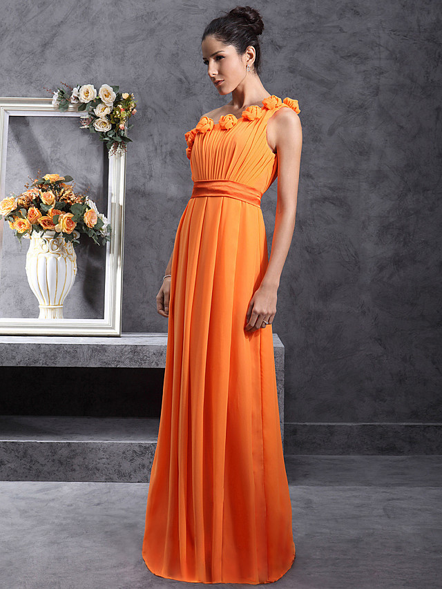 Sheath / Column One Shoulder Floor Length Chiffon Bridesmaid Dress with Pleats / Draping / Flower