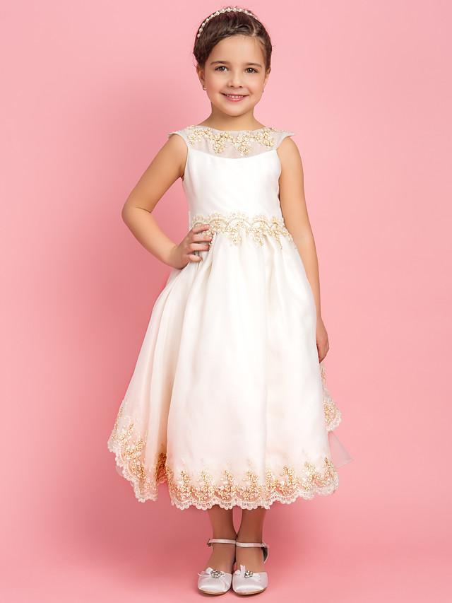A-line Princess Bateau Tea-length Satin Flower Girl Dress