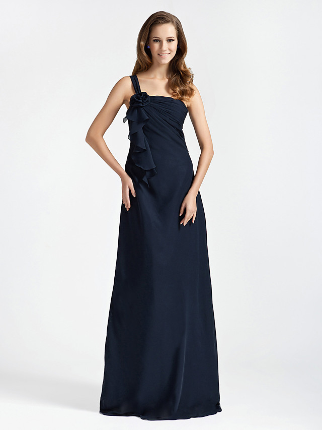 Princess / A-Line / Sheath / Column One Shoulder Floor Length Chiffon Bridesmaid Dress with Ruffles / Side Draping / Flower