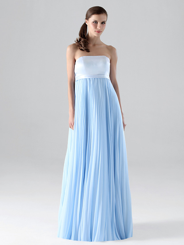 Sheath / Column Strapless Floor Length Chiffon Bridesmaid Dress with Pleats / Draping