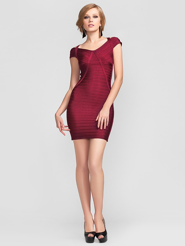 Sheath / Column V-neck Short / Mini Rayon Cocktail Party Dress with Bandage by