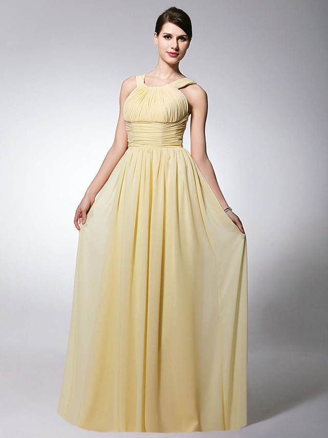 Sheath / Column Straps Floor Length Chiffon Bridesmaid Dress with Pleats / Ruched / Draping / Open Back