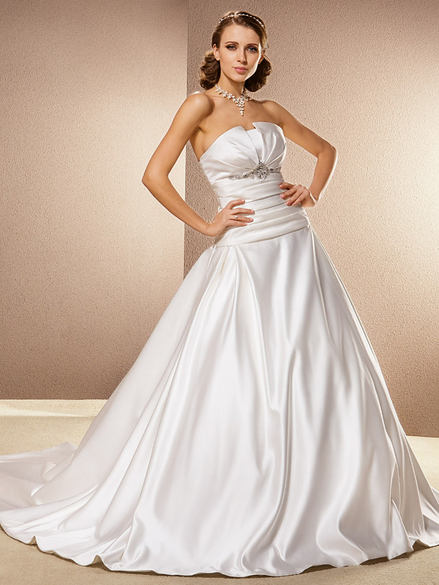 Ball Gown Wedding Dresses Strapless Cathedral Train Satin Sleeveless with 2021