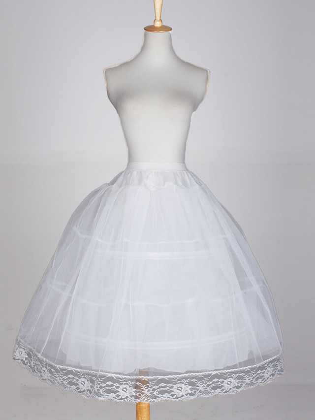Wedding / Special Occasion / Party / Evening Slips Taffeta / Tulle / Cotton Glossy / Ball Gown Slip with White Bow / Lace-trimmed bottom
