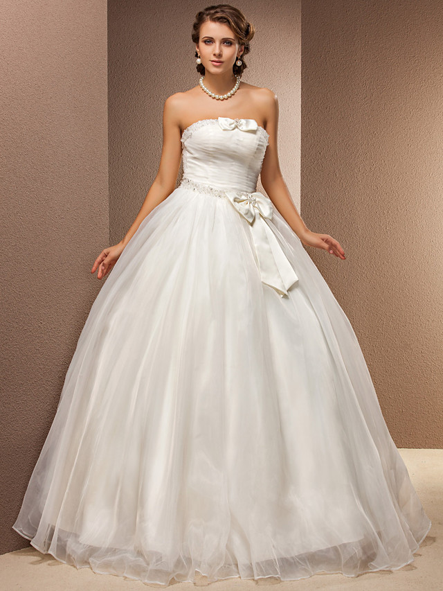 Ball Gown Wedding Dresses Strapless Floor Length Tulle Sleeveless with 2021
