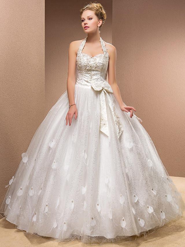 Ball Gown Wedding Dresses Halter Neck Sweetheart Neckline Floor Length Tulle Sleeveless with 2020
