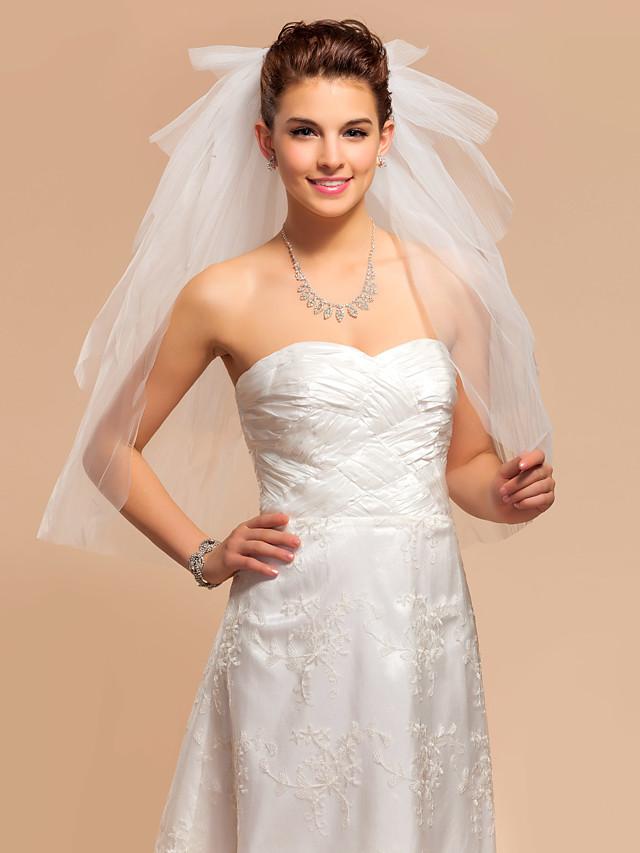 Five-tier Cut Edge Wedding Veil Elbow Veils with 75 cm Tulle A-line, Ball Gown, Princess, Sheath / Column, Trumpet / Mermaid / Classic