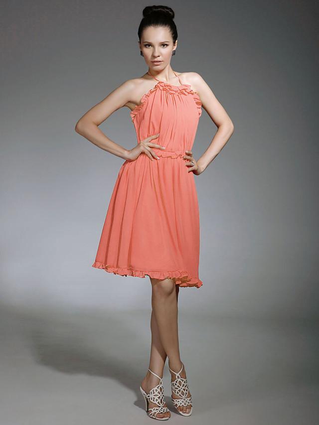 Sheath / Column Halter Neck / Spaghetti Strap Knee Length Chiffon Bridesmaid Dress with Ruffles / Draping / Open Back