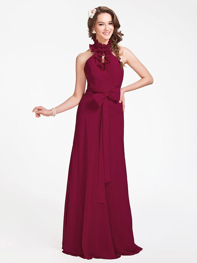 Sheath / Column Halter Neck / High Neck Floor Length Chiffon Bridesmaid Dress with Sash / Ribbon / Bow(s) / Ruffles