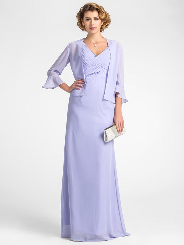 Sheath / Column Mother of the Bride Dress Wrap Included V Neck Floor Length Chiffon 3/4 Length Sleeve with Criss Cross Beading 2020