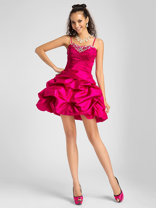 Back To School Ball Gown Homecoming Cocktail Party Prom Dress Sweetheart Neckline Spaghetti Strap Sleeveless Short / Mini Taffeta with Pick Up Skirt Criss Cross Beading 2020 Hoco Dress