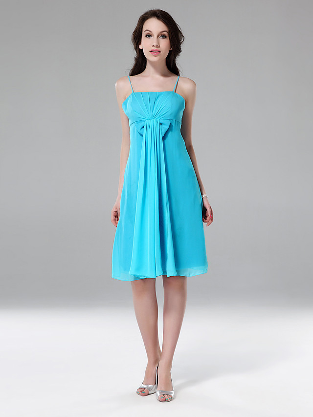 Sheath / Column Spaghetti Strap Knee Length Chiffon Bridesmaid Dress with Bow(s) / Draping / Side Draping