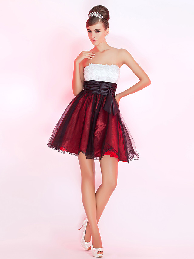 Ball Gown Holiday Homecoming Cocktail Party Dress Strapless Sleeveless Short / Mini Tulle with Bow(s) Appliques 2020