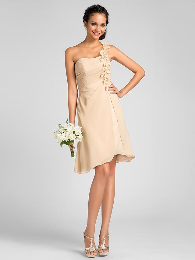 Sheath / Column One Shoulder Knee Length Chiffon Bridesmaid Dress with Side Draping / Flower