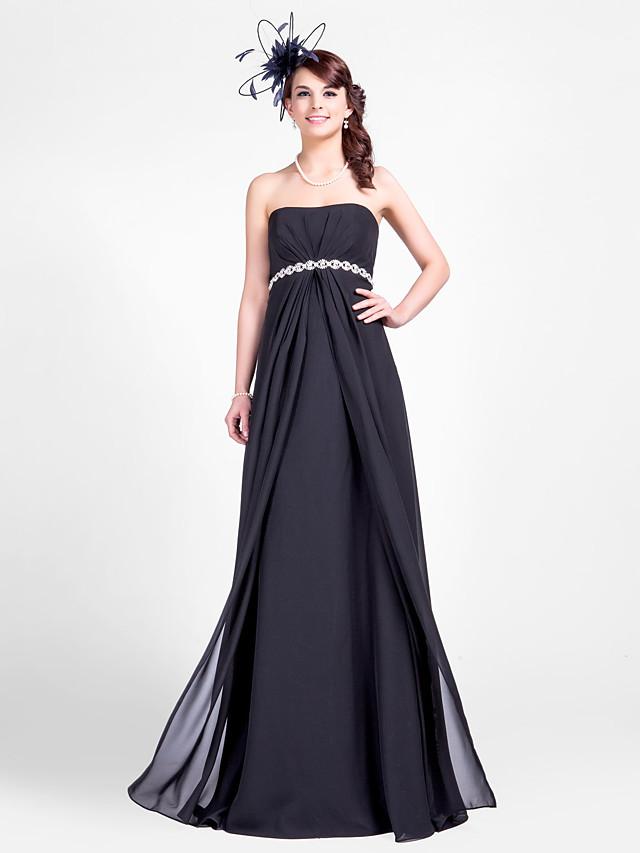 Sheath / Column Strapless Floor Length Chiffon Bridesmaid Dress with Beading / Draping / Side Draping